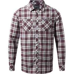 Craghoppers Andreas T-shirt à manches longues Homme, Red Wine Combo Checkered